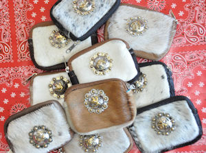 Cowhide Coin Purse with Concho